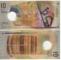 "Attracitve New MALDIVE  10 Ruufiyaa   ""POLIMER ISSUE""     Pnew     2015   UNC - Maldives"