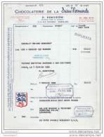 75 9129 PARIS SEINE 1958 CHOCOLATERIE SUISSE NORMANDE Mr G. DEDEYSTERE 22/24 rue Faidherbe - CHOCOLAT