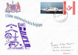 LETTRE AVISO CDT L'HERMINIER JOURNEE DE LA DEFENSE ZEEBRUGGE ANNIVERSAIRE DE LA BELGIQUE 8/07/05 - Marcophilie (Lettres)