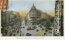 PARIS -75- BOULEVARD DES ITALIENS BOULEVARD HAUSSMANN - BELLE ANIMATION - VEHICULES ANCIENS - Viste Panoramiche, Panorama
