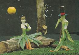 CPSM Dentelée Humoristique Représentant Un Couple Fabriqué à Partir De Poireaux Et De Carottes  // TBE - Fleurs, Plantes & Arbres