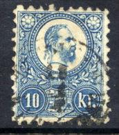 HUNGARY  1871  10 Kr. Light Blue, Used.  Michel 11b - Hungary