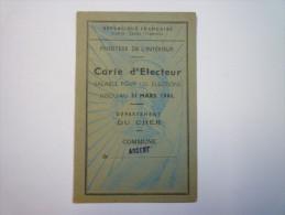 CARTE  D'ELECTEUR  :  ARGENT  (Cher)  1945   XXX - Cartes