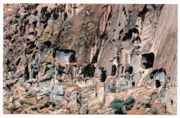 A-954, Postcard, Cave Dwellings Puye Ruins - New Mexico - Native Americans