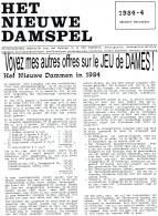 """JEU De DAMES Revue """"HET NIEUWE DAMSPEL"""" N°4 D´octobre/décembre 1984 - Pratique"""