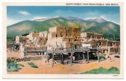 A-965, Postcard, South Pueblo, Taos Indian Pueblo, New Mexico - Native Americans