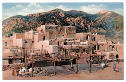 A-966, Postcard, Taos Indian Pueblo - New Mexico - Native Americans