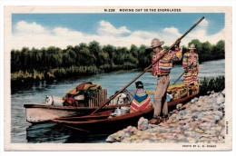 A-968, Postcard, Moving Day In The Everglades - Native Americans