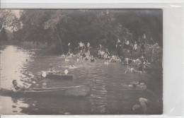 CARTE PHOTO / JEUX DE SCOUT - BAIGNADE ET CANOE