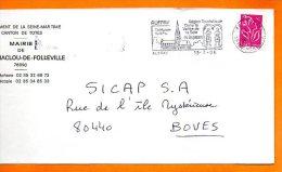 76 AUFFRAY  COLLEGIALE DU XI° S. 13 / 7 / 2006 Lettre Entière 110x220 N° S 899 - Marcophilie (Lettres)