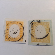 Sardegna Sardinia 1855-63 80c Yellow, Two Old Forgeries (DIFFERENT COLOURS) On Piece  TORINO (FAUX FALSO FAKE FALSCH) - Sardegna