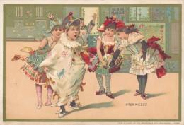 Chromo Au Bon Marché Lithographie Minot Enfants Déguisés Arlequin - Au Bon Marché