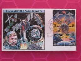 1992 Joint USA / Russia - Space Achievements - Scott # 2631-4 - US ´Collins´ Hand-painted FDC - Emissions Communes