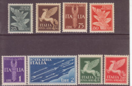 A.12/19)-Regno V.E.III-1930-25c+50c.+75c.+80c(linguellati)+1L.+2L.+5L.+10L.(illinguellati) - 1900-44 Victor Emmanuel III