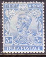 INDIA 1923 SG #200 3a MH Wmk Single Star Ultramarine CV £21 - India (...-1947)