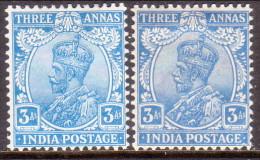 INDIA 1926-28 SG #208-09 3a MH Mult. Star Both Shades CV £33 - India (...-1947)