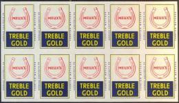 MATCH LABELS  EXPORT  -  TREBLE  GOLD - MEUX'S  Horseshoe  - Cc 1960. -Drava  - Unused - Boites D'allumettes - Etiquettes