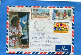 Marcophilie-lettre-NLLE CALEDONIE->Françe Cad-1981-3-stampsN°A207 Vieux Nouméa+A162 Crickety+4396 - Briefe U. Dokumente