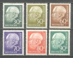 1957 GERMANY HEUSS DEFINITIVES MICHEL: 259, 261-265 MNH ** - [7] Federal Republic