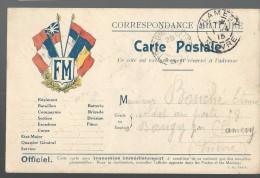 CARTE POSTALE EN FRANCHISE WW1 - 4 DRAPEAUX ET ECUSSON RF - CLAMECY - 1915 - Tarjetas De Franquicia Militare