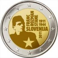 2 EUR 2011 - SLOVENIE UNC - 100 Ans De La Naissance De Franc Rozman Stane (1911-1944) - Slovénie