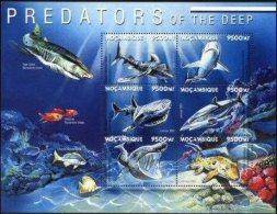 MOZAMBIQUE, 2001, MARINE FAUNA, PREDATORS OF THE DEEP, SHARKS, R#1238-43, YV#1530-35, MNH - Mosambik