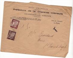 ST SAINT JEAN D ANGELY - 1942 - TAXE T 1F + 50C SUR ENVELOPPE - Marcophilie (Lettres)