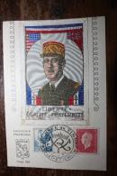 SAINT ETIENNE JOURNEE DU TIMBRE 1944 GENERAL DE GAULLE SUR C.P PORTRAIT EN SOIE BRODEE - Saint Etienne