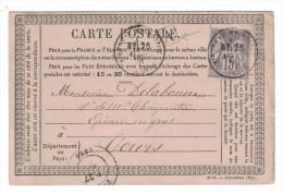 Cad MIREBEAU EN POITOU + BOITE URBAINE Sur CP Precurseur 1878 Affranchie Avec Sage 15c Pour Tours Vienne Indre Et Loire - Marcophilie (Lettres)