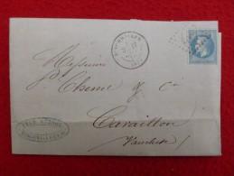 LETTRE CACHET BISCHWILLER GC 483 SUR TIMBRE 1870 - Marcophilie (Lettres)