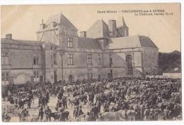 COULONGES SUR L'AUTISE. - Scène De Marché.  Le Château, Façade Nord. - Superbe Cliché Carte Précurseur - Coulonges-sur-l'Autize