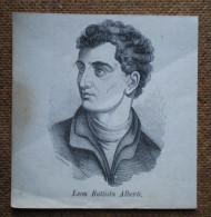 Stampa '800 Originale Leon Battista Alberti Xilografia Litografia Incisione - Vieux Papiers