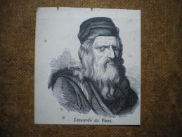 Stampa ´800 Originale Leonardo Da Vinci Xilografia Litografia Incisione - Vieux Papiers