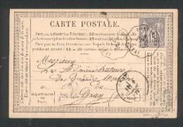 Convoyeur-Station PONTARLIER Per D Ligne 194, Sur Carte Postale Précurseur Timbre Sage  N° 66 Type N/b - Marcophilie (Lettres)