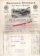 51 - REIMS - BELLE FACTURE G. LASNIER - DROGUERIE PRODUITS CHIMIQUES ET PHARMACEUTIQUES -PHARMACIE-115 RUE LESAGE-1919 - France