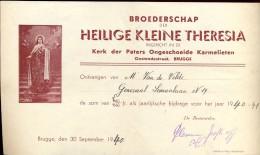 Wissel - Reçu - Broederschap H. Kleine Theresia - Ong. Karmelieten Brugge 1940 - Belgique
