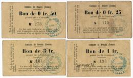 1914 - 1918 // BROUCHY (Somme) // Bon Municipal // 25, 50 Centimes & 1 Et 3 Francs - Bons & Nécessité
