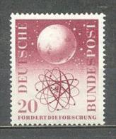 1955 GERMANY SCIENTIFIC RESEARCH ATOM MICHEL: 214 MNH ** - [7] Federal Republic