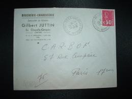 LETTRE TP MARIANNE DE BEQUET 0,50 OBL.14-5-1971 LA CHAPELLE GAUGAIN (72 SARTHE) GILBERT JUTTIN BOUCHERIE CHARCUTERIE - Autres