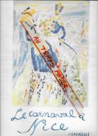 """06 - Alpes Maritimes - Nice -""""Le carnaval � Nice du 1er au 13 F�vrier 1964""""- petite affiche - illustrateur J.Cavailles"""