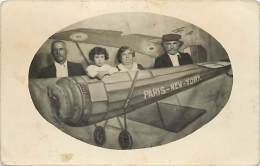 themes div -ref M124- carte photo- decor photographe -avion aviation - paris new york - carte photo bon etat  -