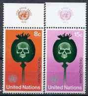 1973 NATIONS UNIES 229-30** Drogue, Pavot - New York - Sede De La Organización De Las NU