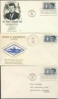BL6-186 3 FDC'S COMMEMORATING DEADTH OF JOHN F KENNEDY. - Postzegels