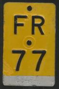 Velonummer Mofanummer Fribourg FR 77 - Plaques D'immatriculation