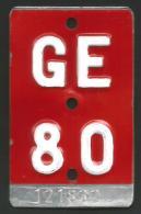 Velonummer Genf Genève GE 80 - Plaques D'immatriculation
