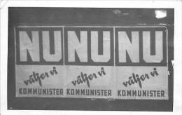 Sweden pro communist posters pasted on a wall - vintage real photo postcard