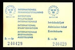 Sweden Stockholm 1974 / STOCKHOLMIA 74 / Philately Exhibition / Ticket - Tickets - Entradas