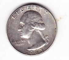 1963 USA 25 Cent Coin - 1932-1998: Washington