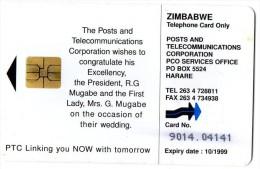 TELECARTE ZIMBABWE $50 * MUGABE  *MANDELA  Mariage  Wedding - Zimbabwe
