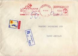 Yugoslavia,Serbia Belgrade Registered Letter. Stamp Red Cross 1990 - ChemicMETER MARK EMA FREISTEMPEL AFFRANCATURA ROSSA - 1945-1992 République Fédérative Populaire De Yougoslavie
